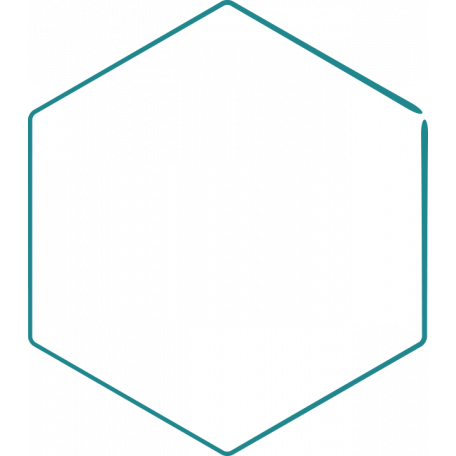 Doodle Teal Hexagon Large 1