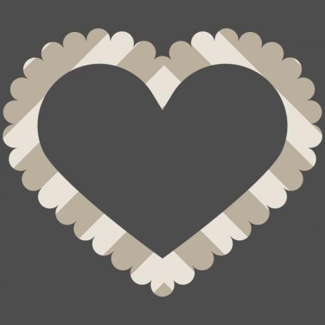Coastal Print Scalloped Edge Heart Shaped Frame Graphic
