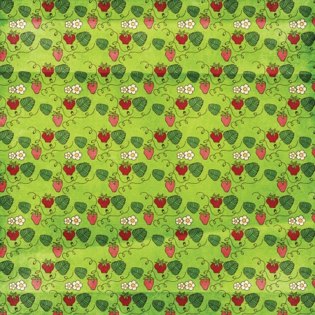 Strawberry Fields - Strawberry Doodle Paper - Green