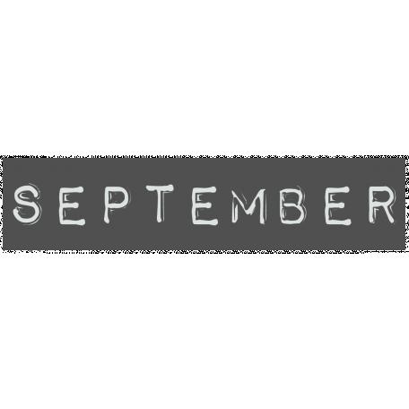 Work From Home - September Word Label Black