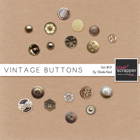Vintage Buttons Kit Set #01