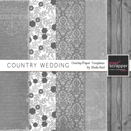 Country Wedding Overlay/Paper Templates Kit