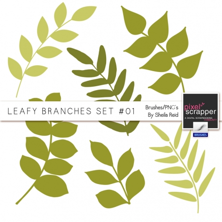 Leafy Branches Set #01 Brushes/PNG's Kit