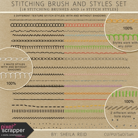 Stitching Brushes And Styles Set by Sheila Reid graphics kit