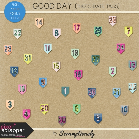 Good Day date tags for digital scrapbooking, pocket scrapping by Scrumptiously at Pixel Scrapper