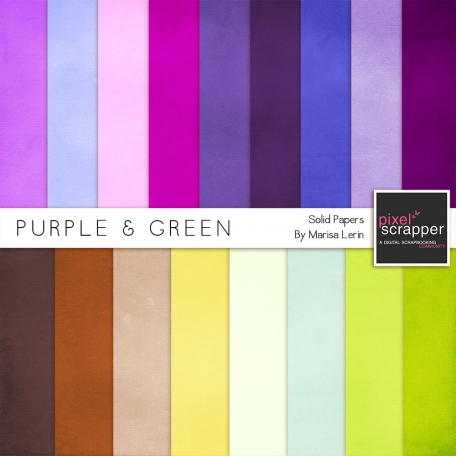 Purple & Green Solid Papers Kit