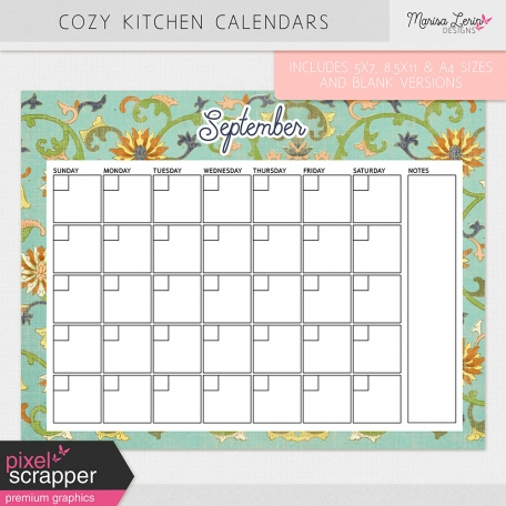 Cozy Kitchen Calendars Kit By Marisa Lerin Graphics Kit Pixel