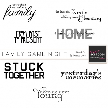 Family Game Night Word Art Kit