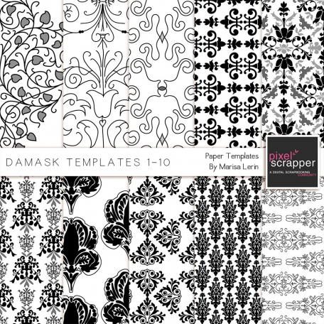 Damask Paper Templates 1-10 Kit