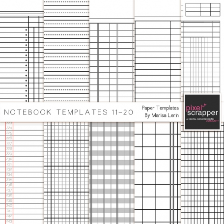 Notebook Paper Templates 11-20 Kit