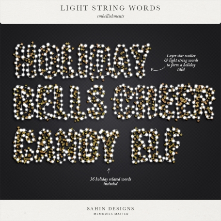Light String Words by Elif Şahin graphics kit   Pixel Scrapper Digital Scrapbooking