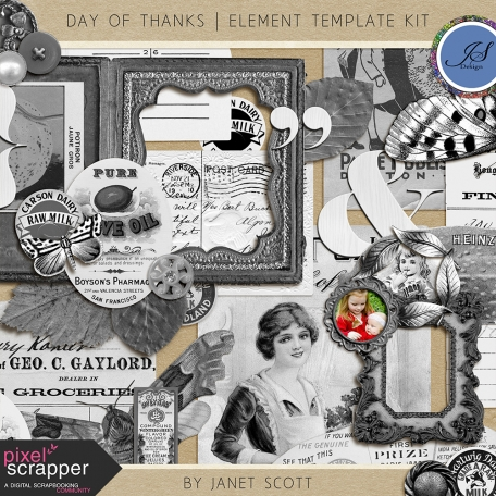 Day Of Thanks Element Template Kit By Janet Scott Graphics Pixel Screr Digital Sbooking