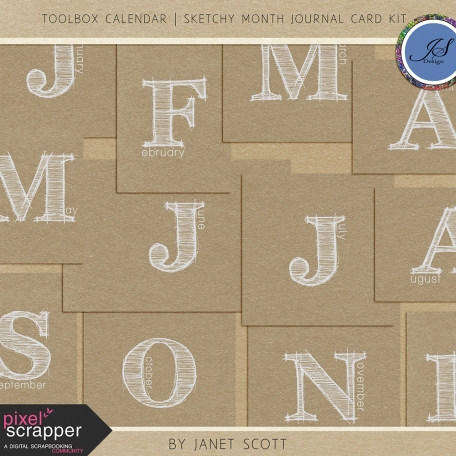 Toolbox Calendar - Sketchy Month Journal Card Kit