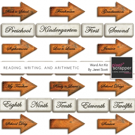 Reading, Writing, and Arithmetic - Word Art Kit