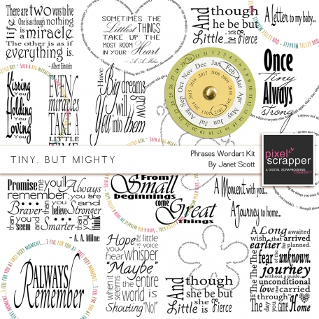 Tiny, But Mighty - Phrases Wordart Kit