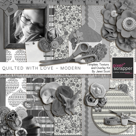 Quilted With Love - Modern Template, Texture and Overlay Kit