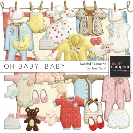 Oh Baby, Baby - Doodled Clothing and Toys Kit