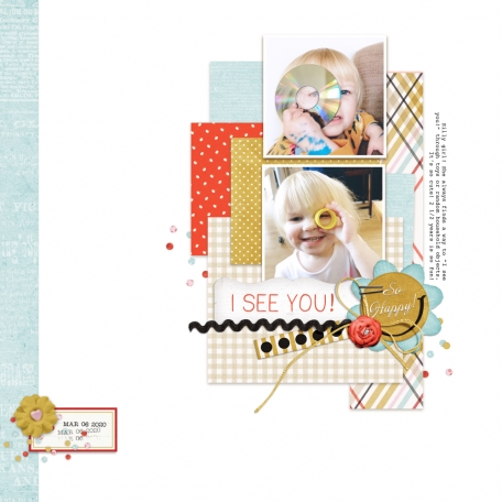 child playing scrapbook layout