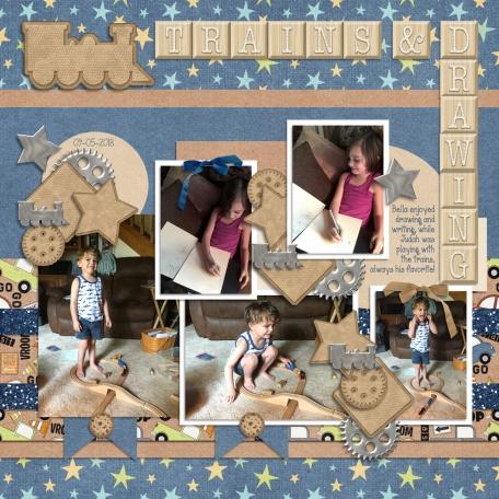 Judah & Bella - Trains & Drawing