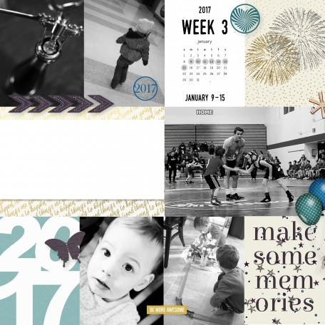 Pocket 2017 Week 3 layout made with Best Is Yet To Come 2017 digital scrapbook, project life, pocket scrapping kit by Scrumptiously at Pixel Scrapper