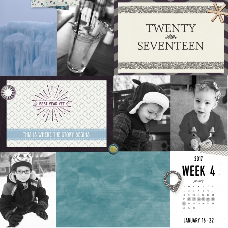 Pocket 2017 Week 4 layout made with Best Is Yet To Come 2017 digital scrapbook, project life, pocket scrapping kit by Scrumptiously at Pixel Scrapper