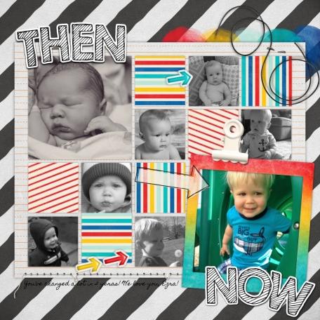 Ezra, Then & Now.  He's {almost} 2!