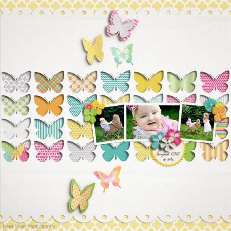 baby and butterflies and buggy digital layout