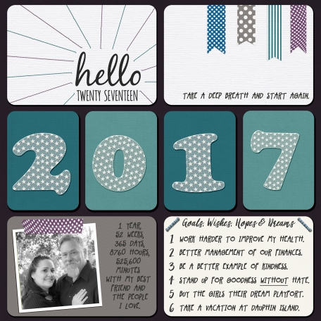 2017 - Start Again title page, cover page layout made with Best Is Yet To Come 2017 digital scrapbook, project life, pocket scrapping kit by Scrumptiously at Pixel Scrapper