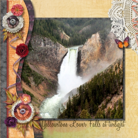 Yellowstone Lower Falls at Twilight