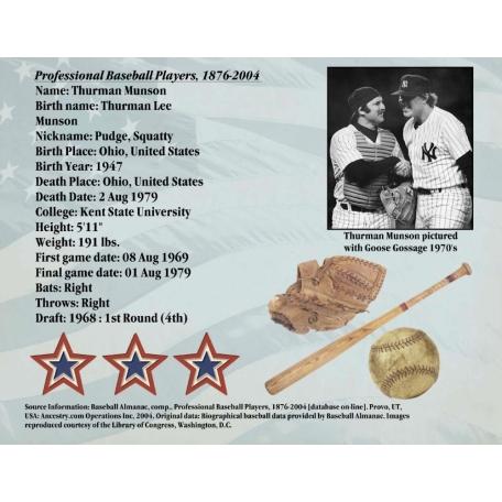 Thurman Lee Munson Professional Baseball Players Record Page