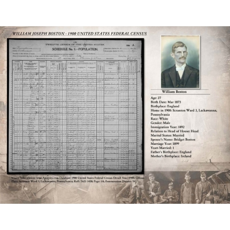1900 Census Record for William Boston
