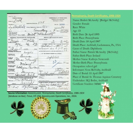 Bridget McNulty PA Death Record
