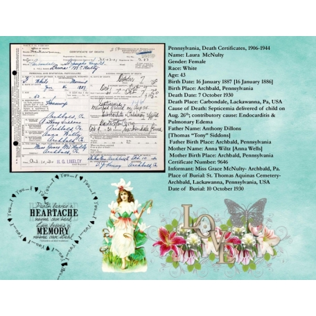 Laura Siddons McNulty Death certificate