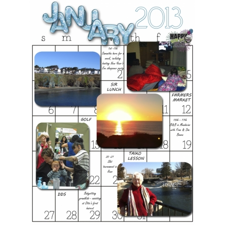 2013 Monthly activities calendar January