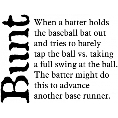 Baseball Word Art Bunt