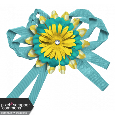 Turquoise Yellow Flower Cluster