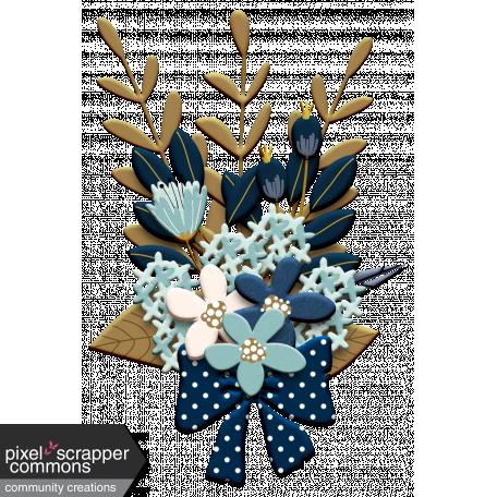 Aqua & Navy Floral Bouquet Chipboard