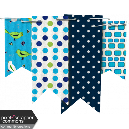 Aqua and Navy Blue Banner Cluster