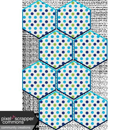 Aqua Navy Polkadot Hexagon Chipboard