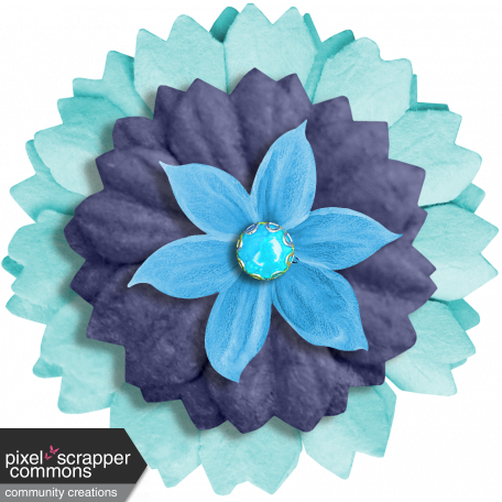Aqua Navy Blue Flower 3