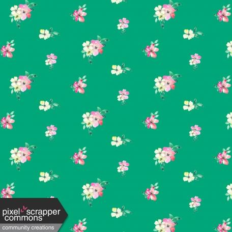 Bloom Pink Floral on Green Paper
