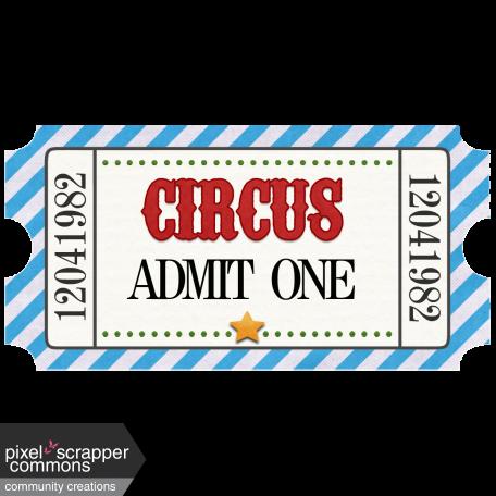 Circus Ticket Admit One Blue