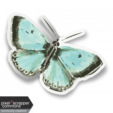 Folded Butterfly Sticker (with shadows)