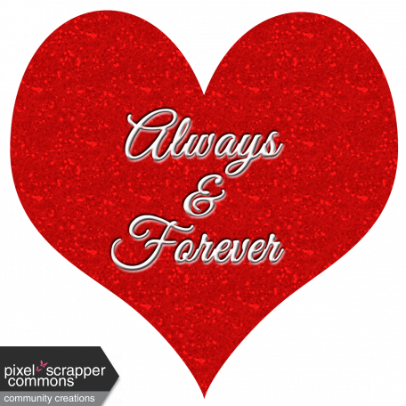 Red Heart Always and Forever Word Art Element