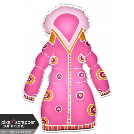 Winter White Puffy Sticker Pink And Orange Coat