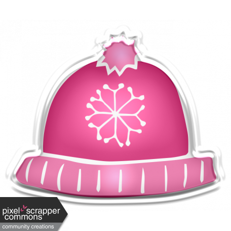 Winter White Puffy Sticker Pink Snowflake Hat