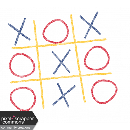 Kids Ahead - Colorful Chalk Tic Tac Toe Element graphic by