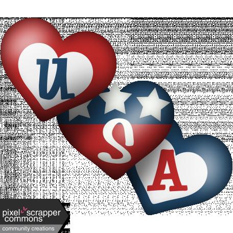 Celebrate America USA Hearts
