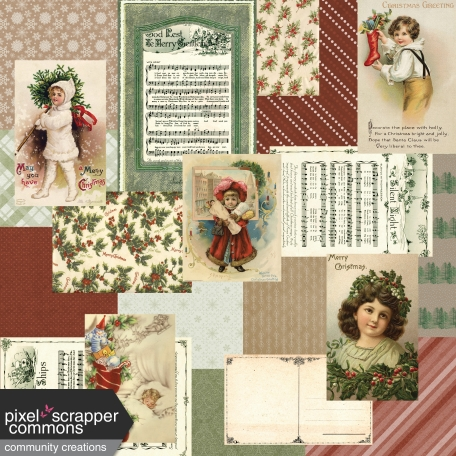 Retro Holly Jolly Collage Paper #2