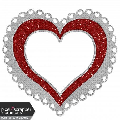 Heart Frame silver and red glitter graphic by joyce crosby | Pixel ...